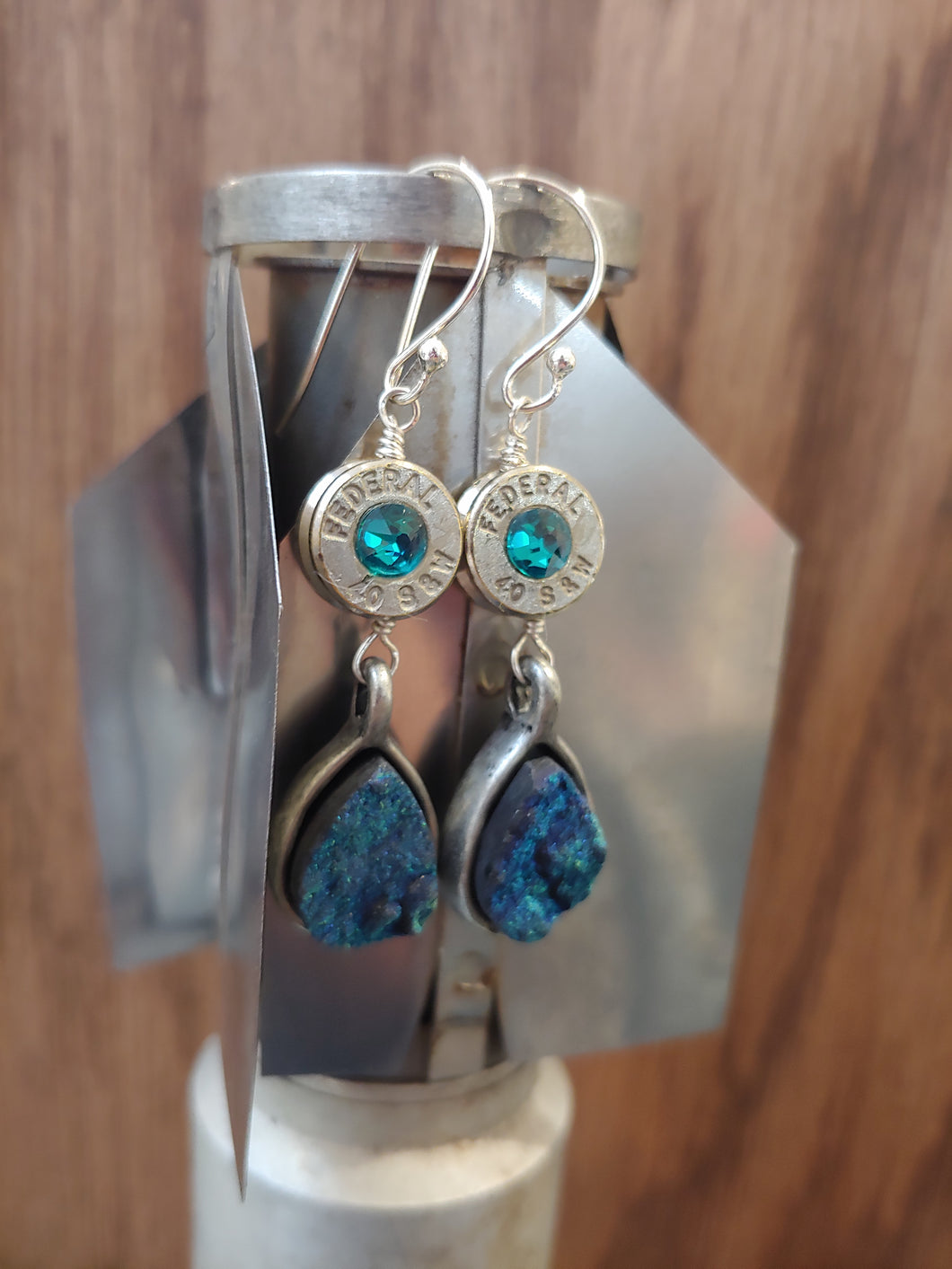 Silver .40 Casings with Teal Druzy
