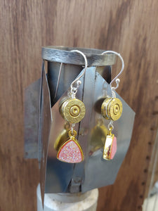 Brass 9mm Bullet Casings with Pink Druzy