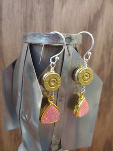 Brass 9mm Bullet Casings with Pink Druzy Stone
