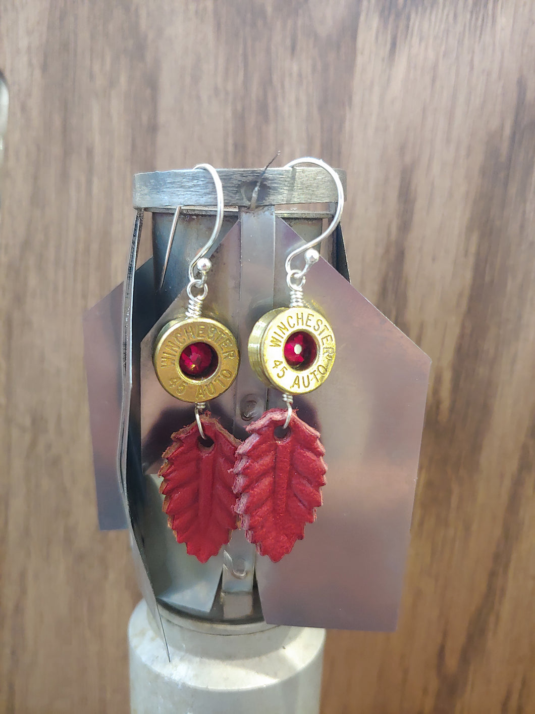 Brass .45 Bullet Casings with Red Leather Leaf