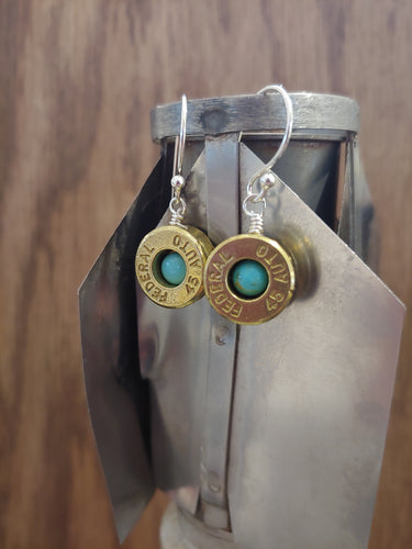 Brass 45 Bullet Casings with Turquoise