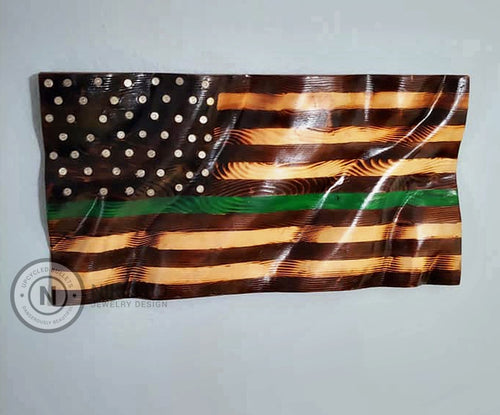 Green Line Wooden Waving Flag