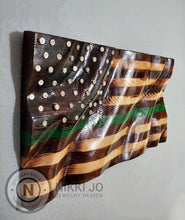 Load image into Gallery viewer, Green Line Wooden Waving Flag