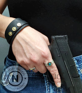 Double Band Black Leather & Brass .32 Bullet Casings