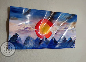 Double Sided Wooden Waving Colorado Flag