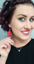 Load image into Gallery viewer, Red Leather & Brass 5.7 Bullet Casing Earrings