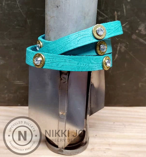 Triple Wrap Blue Leather Bracelet & 9mm Bullet Casings