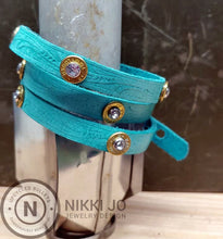 Load image into Gallery viewer, Triple Wrap Blue Leather Bracelet & 9mm Bullet Casings