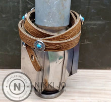 Load image into Gallery viewer, Triple Wrap Brown Leather Bracelet & 357 Bullet Casings