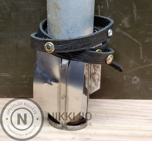 Triple Wrap Black Leather Bracelet & 5.7x28 Bullet Casings