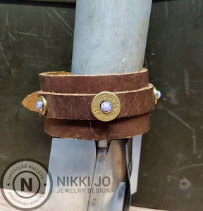 Double Band Brown Leather & Brass 500Mag Casing
