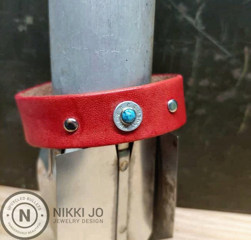 Red Leather & Aluminum 9mm Bullet Casing