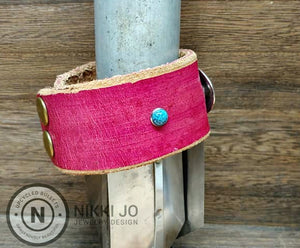 Wide Pink Leather & Western Charm