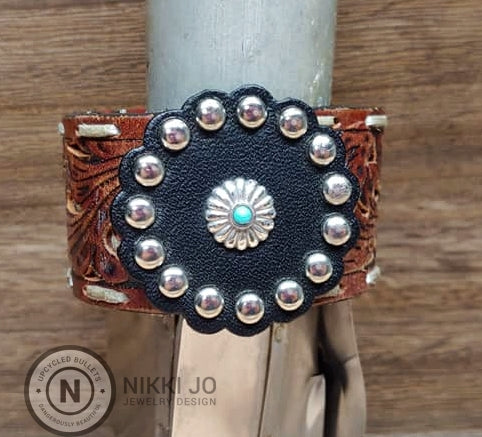 Recycled Belt Leather Cuff & Leather Charm