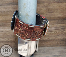 Load image into Gallery viewer, Recycled Belt Leather Cuff & Leather Charm