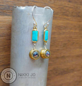 Brass 5.7x28 Bullet Casing & Turquoise Bar