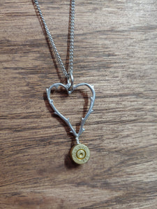 Brass .223 Bullet Casing & Heart With thorns