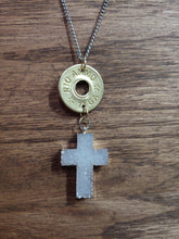 Load image into Gallery viewer, Brass 12gauge Bullet Casing & Stone Cross