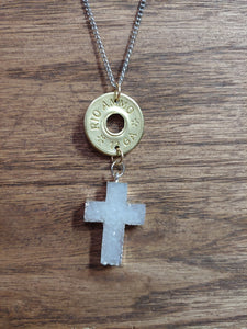 Brass 12gauge Bullet Casing & Stone Cross
