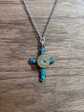Load image into Gallery viewer, Brass .357  Bullet Casing Cross Necklace