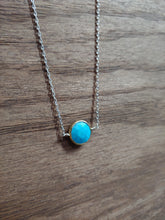 Load image into Gallery viewer, Round Turquoise Coin Necklace with Gold Bezel