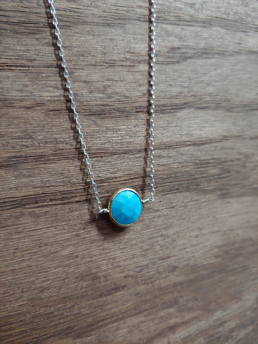 Round Turquoise Coin Necklace with Gold Bezel