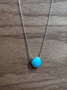 Round Turquoise Coin Necklace with Silver Bezel