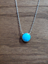 Load image into Gallery viewer, Round Turquoise Coin Necklace with Silver Bezel