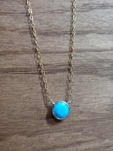 Round Turquoise Coin Necklace with Gold Chain
