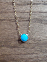 Load image into Gallery viewer, Round Turquoise Coin Necklace with Gold Chain