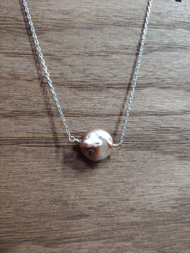 Round Pink Coin Pearl Necklace