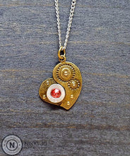 Load image into Gallery viewer, Silver .380 Bullet Casing & Brass Steam Punk Heart