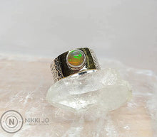 Load image into Gallery viewer, Opal on Floral Stamped Sterling Silver