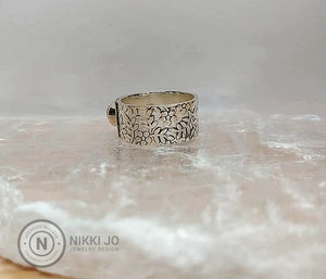Opal on Floral Stamped Sterling Silver