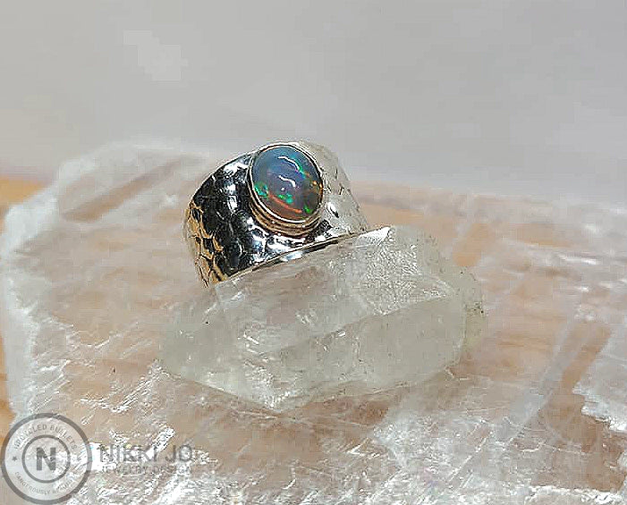 Opal on Snake Skin Stamped Sterling Silver