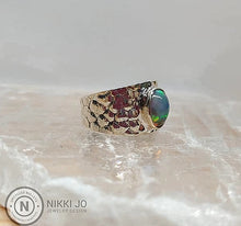 Load image into Gallery viewer, Opal on Snake Skin Stamped Sterling Silver