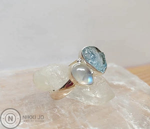 Aquamarine and Moonstone Sterling Silver Ring