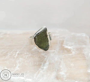 Moldavite Wide Sterling Silver Band