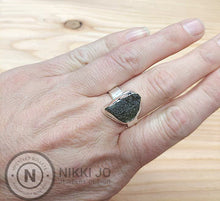 Load image into Gallery viewer, Moldavite Wide Sterling Silver Band