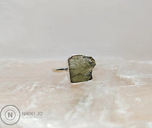 Moldavite Thin Sterling Silver Band
