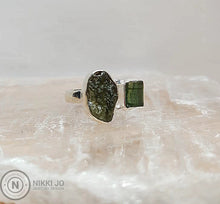Load image into Gallery viewer, Moldavite and Green Tourmaline Ring