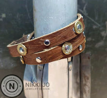 Load image into Gallery viewer, Triple Wrap Brown Leather Bracelet & .32 Bullet Casings