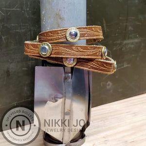 Triple Wrap Brown Leather Bracelet & 357 Bullet Casings