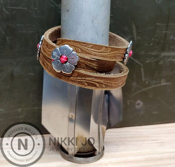 Triple Wrap Brown Leather Bracelet & Flowers