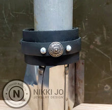 Load image into Gallery viewer, Double Band Black Leather with Flower Charm