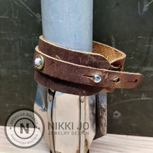 Load image into Gallery viewer, Double Band Brown Leather & Brass 500Mag Casing