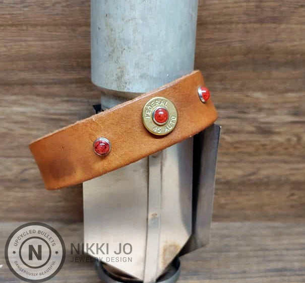 Brown Leather & Brass 45 Bullet Casing
