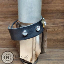 Load image into Gallery viewer, Black Leather & Brass 300 Bullet Casing