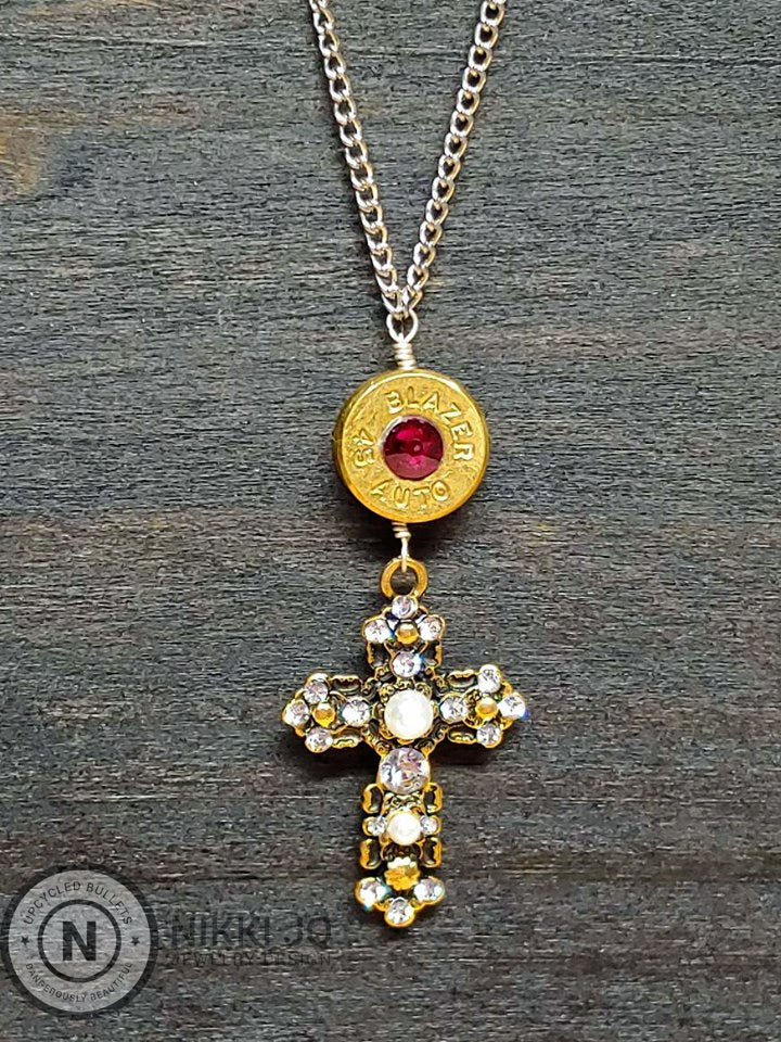 45 Bullet Casing Cross Necklace