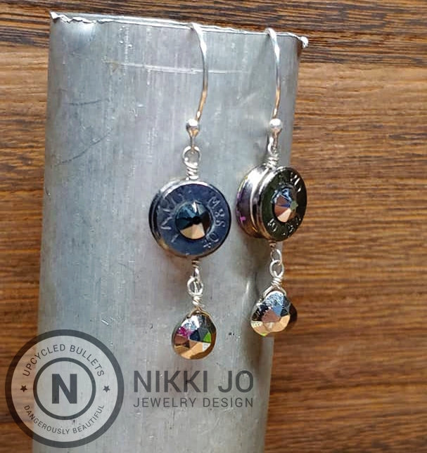 Pyrite & Black Browning Bullet Casing Earrings